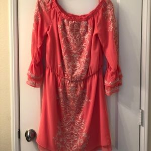 NWT coral off shoulder dress
